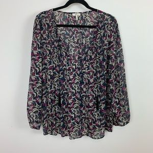 Joie large floral boho chic dressy blouse